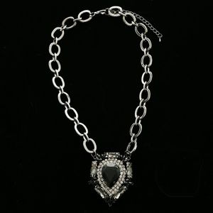 Luxury Crystal Necklace Gunmetal/Black NWOT